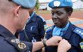 165 Casques bleus rwandais de la Police  de la MINUSCA reçoivent la médaille de l'ONU