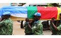 Maitre-Principal Eloundou Eloundou du contingent camerounais reçoit les derniers honneurs de la MINUSCA